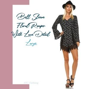 A3 Francescas Long Bell Sleeve Floral Romper Large